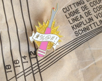pink unpicker sewing enamel pin, crafty enamel pin, hard enamel pin, enamel pin set, unpicker enamel pin, embroidery enamel pin,