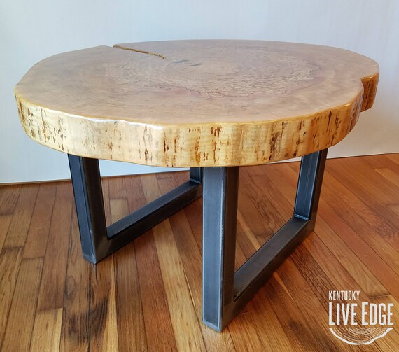 Vintage Industrial Live Edge Walnut Slab Coffee Table: Round Coffee Table Live Edge Industrial Tree Slice Log