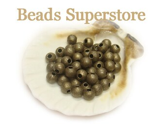 4 mm Antique Brass Stardust Round Bead - Nickel Free and Lead Free - 50 pcs