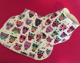 Little Girl Owl Bib & Burp Cloth
