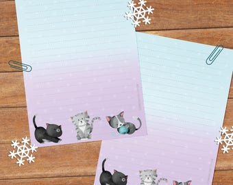 Kittens - DOWNLOAD file - Printable Writing paper - A5 size
