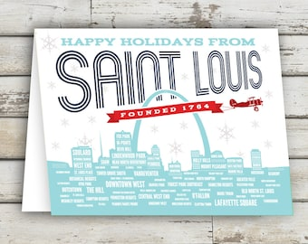 Happy Holidays from STL, Happy Holidays St Louis, St Louis Greeting Card, St Louis, Saint Louis, St Louis Holiday, Christmas Card, STL