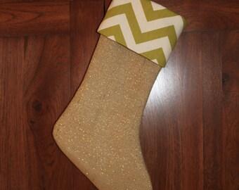 Green Chevron Gold Glitter Burlap Christmas Stocking, Personalized Monogram Glittery Stockings