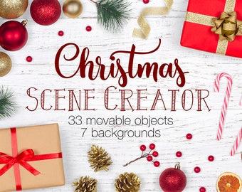 Christmas Scene Creator, Winter Movable Mockup, Christmas Mockup Creator, Card Mock Ups, Custom Scene, Christmas Flat Lay Stock Photos
