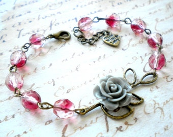 Flower Bracelet Burgundy Bracelet Leaf Bracelet Floral Bracelet Romantic Jewelry Grey Rose Bracelet Flower Jewelry Maroon Wedding Jewelry