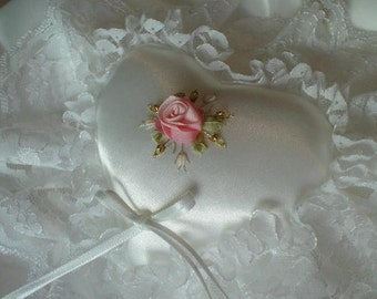 Ring Pillow, Heart Ring Cushion, Ring Bearer Pillow