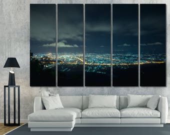 Large Night Cityscape Wall Art Canvas Print, Skyline Photography Wall Decor, Night Light Cityscape Poster Home Decor, City Skyline Print Set