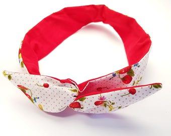 Wild Strawberries, Wire Headband, Red and White, Retro Twist Hairband,