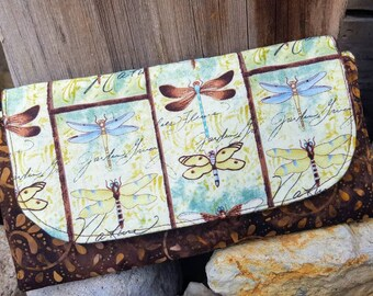 Dragonfly Wallet, Handmade Ladies Billfold, Ladies Wallet, Dragonfly Accessory, Dragonfly checkbook cover, Dragonfly gift