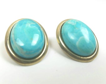 Teal gemstone earrings - oval shaped earrings - gold costume jewelry