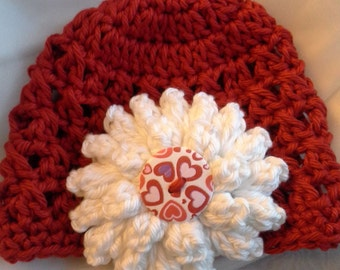 Newborn Hat Red Cotton With Attached Large Flower Great for Pictures or Valentine's Day Photo Prop