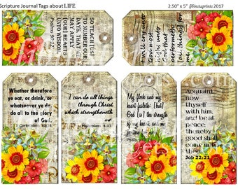 Christian Journal Tags, Bible Verses about Life, Scripture Journal Tags, Printable Bible VerseTags