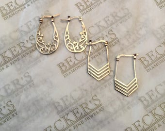 Two pair of sterling silver Filigree Drop Earrings with Snap Closures, BOMA