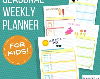 Weekly Planner for Kids: Seasonal Bundle of printable planner pages for children