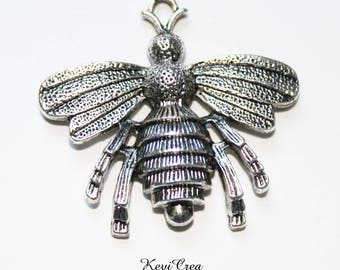 2 x large 39x36mm silver bee charms