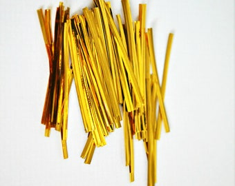 Gold Foil Twist Ties {100}   Gold Bread Ties   Homemade Treats   Holiday Gift Wrap   Sparkly Twist Ties   Sparkle Gift Wrap