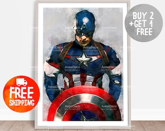 Captain America Poster, Captain A Print, Avenger Print, Wall Hanging, Watercolor Painting Effect, Nursery Print, Kid Poster, C222