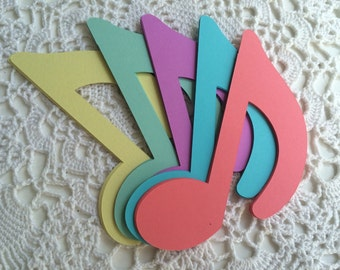 RESERVED for Jes 5 Inch Music Notes, Wedding, Birthday, Classroom Decoration, Paper Die Cuts in Pastel Colors - Set of 200