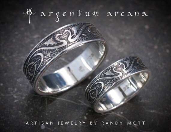 Dragon Wedding Ring Set Silver Celtic Wedding Bands Unique