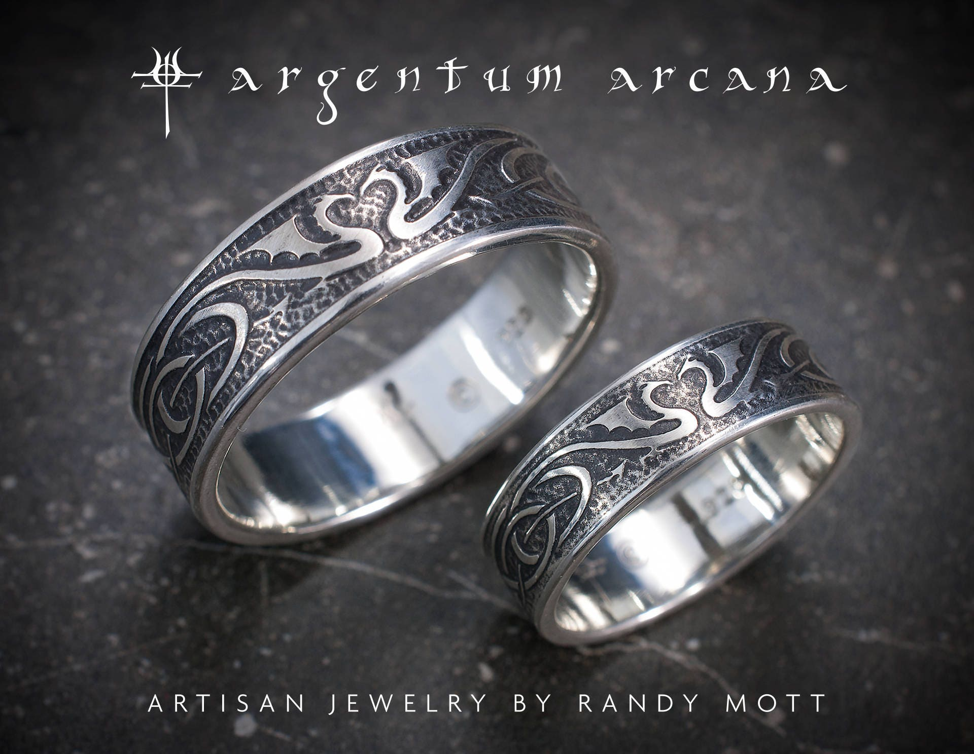Dragon Wedding Ring Set Silver Celtic Bands Unique
