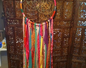 Oversize boho hippy dreamcatcher made from recycled materials