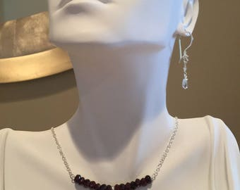 Garnet and Sterling Silver Bar Necklace