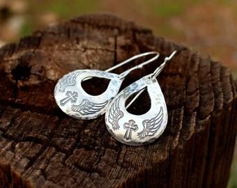 Angel wing earrings, sterling silver earrings, Angel wing and cross earrings,  Western earrings,  Western jewelry