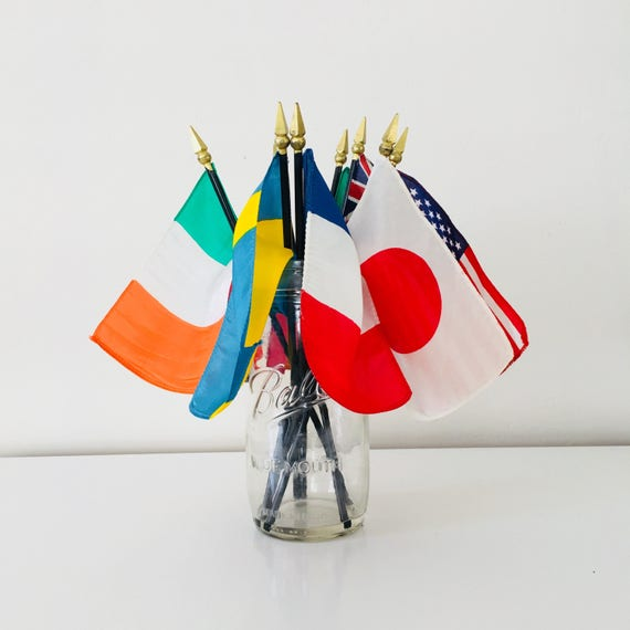 Vintage Foreign Flag Collection Desk Top Decor Set of (8) Hand Held Vintage Silk Patriotic Parade Flags Japan Ireland Mexico France Sweden