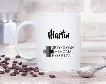 Greys Anatomy *PERSONALISED* Grey Sloan Memorial Hospital Doctor Nurse Surgeon 11oz MUG