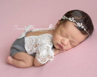 Newborn Gray Lace Romper, Baby Girl, Clothing, Lace, Gray, sweater knit, Photography Prop, Newborn Clothing