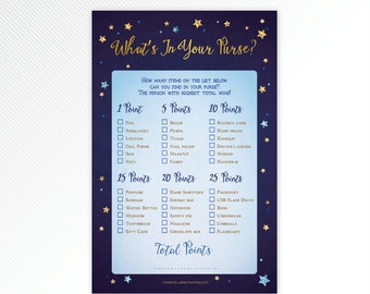 Navy blue and glitter Twinkle, twinkle, little star What's in your purse - baby shower game printable - INSTANT DOWNLOAD