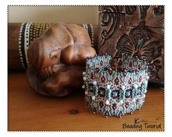 Geometric Peyote Stitch Cuff beading pattern with Ethnic Patterning Soft ZigZag Structural Bracelet Beaded Faux Hinges Tutorial GATEWAY CUFF