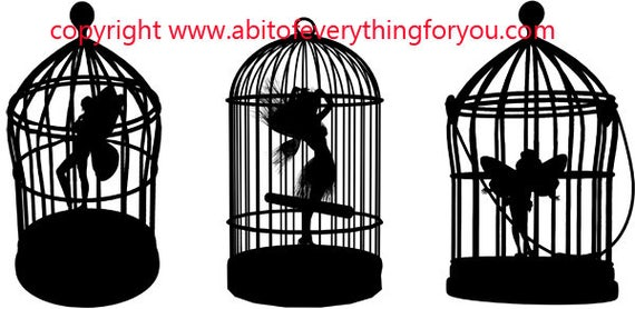 fairies in bird cages silhouette art printable clipart png download digital fairy image graphics fairytale digital stamp artwork