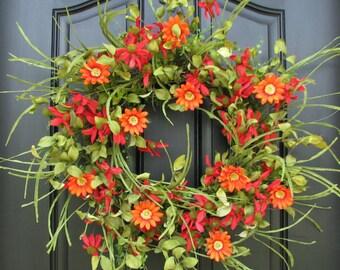 SUMMER Wreath - Front Door Wreath - Red Daisy Wreath - Spring Gardens - Daisy Wreaths - Wreaths - Handmade Wreaths