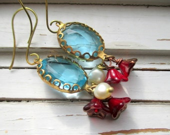 Ariel, ocean blue glass jewels with pearl and ruby flower dangles, romantic dangle earrings