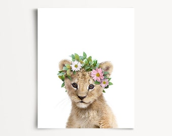 Nursery animal prints, PRINTABLE nursery art, Baby lion print, Flower crown, Zoo animals, Safari nursery, Girls room decor, Flower wreath