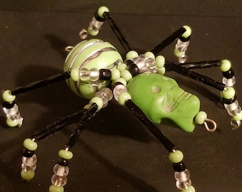 Beaded Spider- Halloween Green Skull