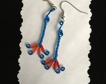 Royal Blue Twisted Wire Earrings with Red Accent Beads Hypoallergenic
