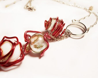 """Pink and Red Wire Wrapped, 3 White and Clear Glass Ball Necklace, Silver Chain, 18"""", Handmade"""