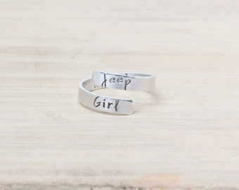 Jeep Girl Wrap Ring - Jeep Jewelry - Hand Stamped