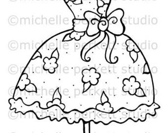 Digital Stamp Image Dress Flowers Bows Girly Pretty Dressform Cardmaking Scrapbooking Stamping