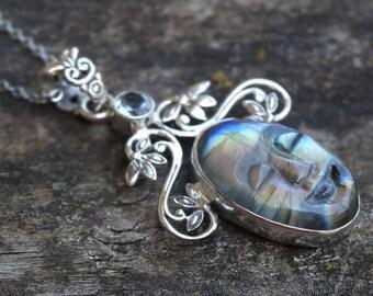 "Carved Face Fiery LABRADORITE Sterling silver Pendant Necklace - Sterling Silver 18"" Chain - Labradorite Necklace - Boho chic Pendant"