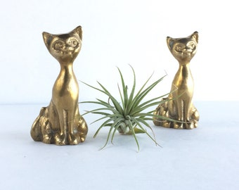 Pair of Small Brass Cats