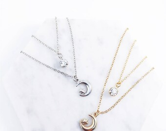 Moon & star necklace; Multi strand necklace; multi necklace; moon necklace; shiny star; star necklace; multi layered