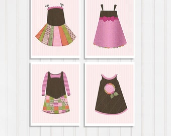 Set Of 4 Prints Dress Art Picture For Little Girl Room Decor Pink And Brown Nursery Baby Room Idea Whimsical Wall Art Fashion Illustration