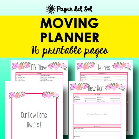 Moving Planner Printable Moving List Printable Planner