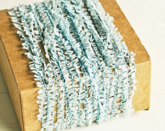 Ruffle Twine in Light Blue - 6 Yards - Baby Blue Pastel Rustic Shabby Chic Pretty Packaging Gift Wrapping Garland Ribbon Trim Party Decor