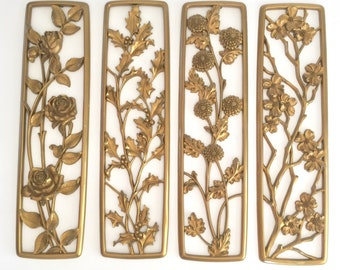 Vintage Syroco Wall Hangings Panels Floral Four Seasons Mid Century Decor