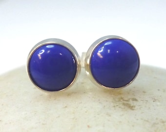Reconstituted Lapis Stud Earrings .. 6mm Round ..  Blue Lapis Earrings Sterling Silver Studs