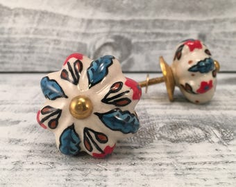 Ceramic Knobs For Cabinets, Replacement Knob Hand Painted Floral Design Red Blue White Colors, Pumpkin Shape Drawer Pulls, Item #503591014